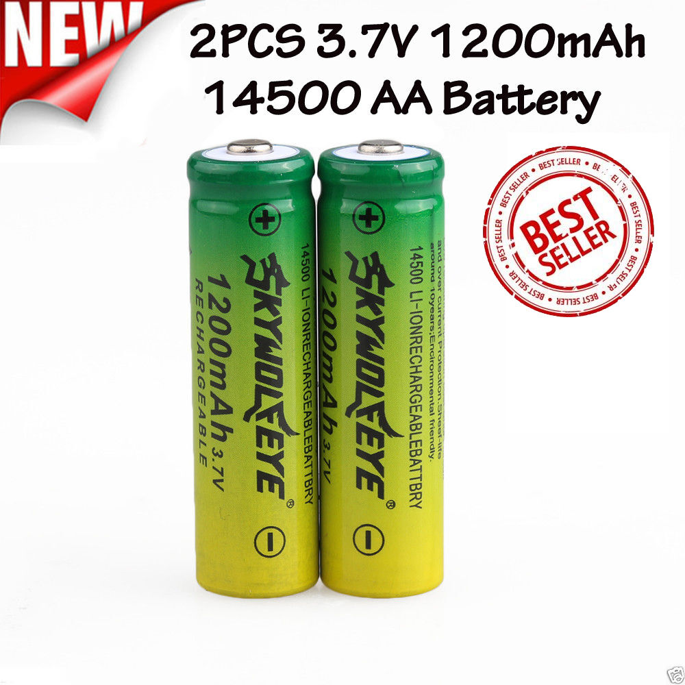 2pcs 3 7v 1200mah 14500 aa li ion rechargeable battery for flashlight torch lamp ebay. Black Bedroom Furniture Sets. Home Design Ideas