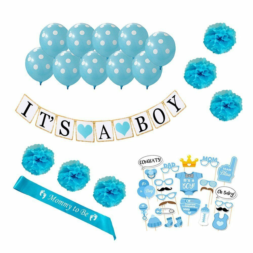 It 39 s a boy baby shower decoration 1st birthday party for Baby boy shower decoration kits