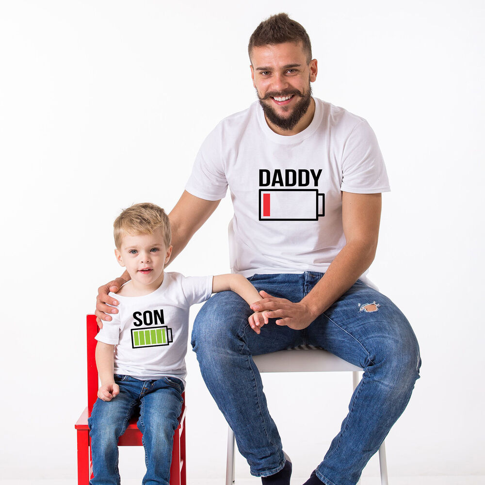 battery power shirts father son matching t shirts daddy and me fathers day tee ebay. Black Bedroom Furniture Sets. Home Design Ideas