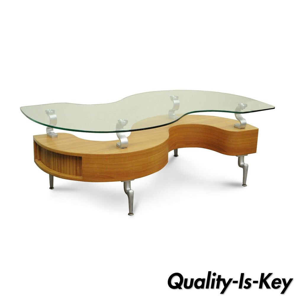 Details About Global Furniture Modern Contemporary S Shaped Tambour Gl Top Coffee Table