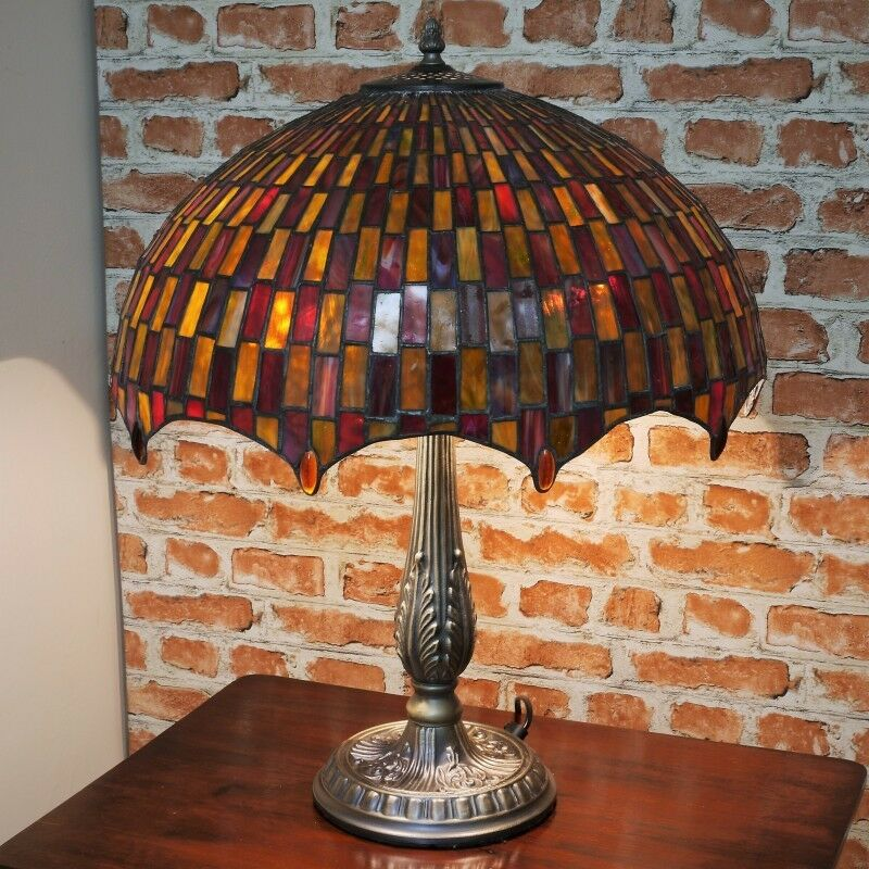 New Large 18 Quot Diameter Tiffany Stained Glass Table Lamp