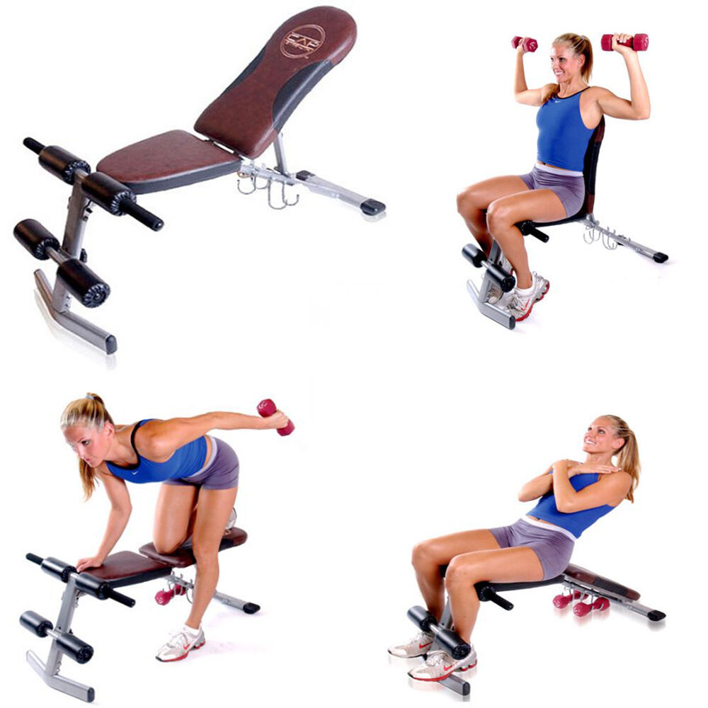 Bench Press Person: Fitness Exercise Weight Lifting Bench Home Workout
