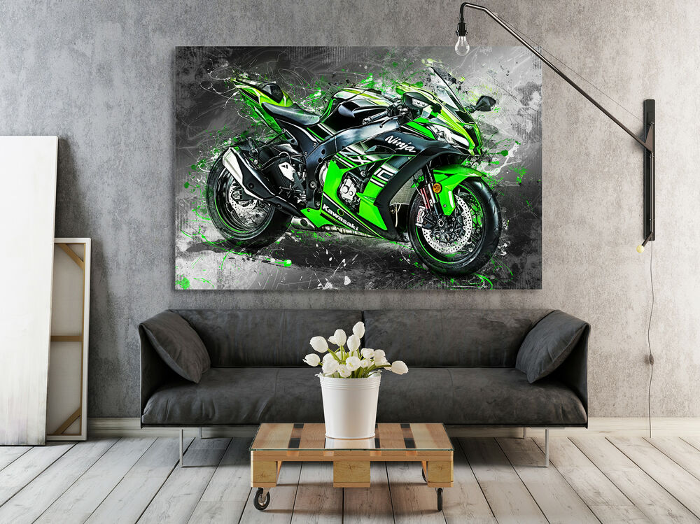 kawasaki zx10 leinwand bild motorrad deko wandbild poster xxl abstrakt kunst ebay. Black Bedroom Furniture Sets. Home Design Ideas