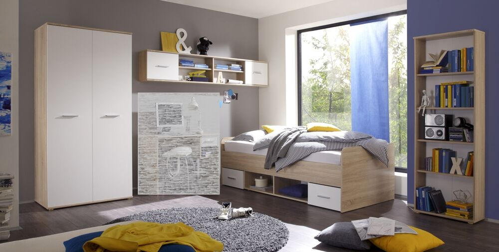 jugendzimmer set nanu 4tlg komplett bett schrank regale eiche wei ebay. Black Bedroom Furniture Sets. Home Design Ideas