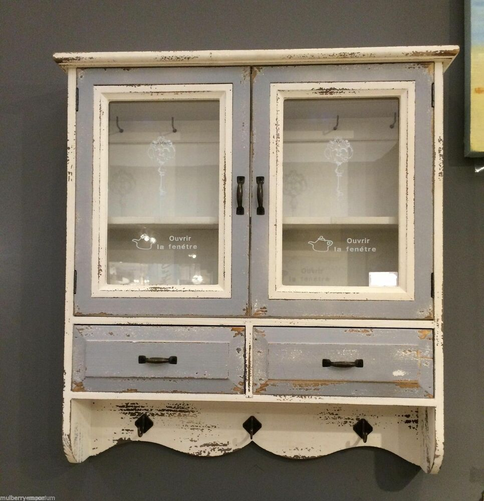Vintage Style Wooden Cabinet Glass Wall Storage Unit Hooks