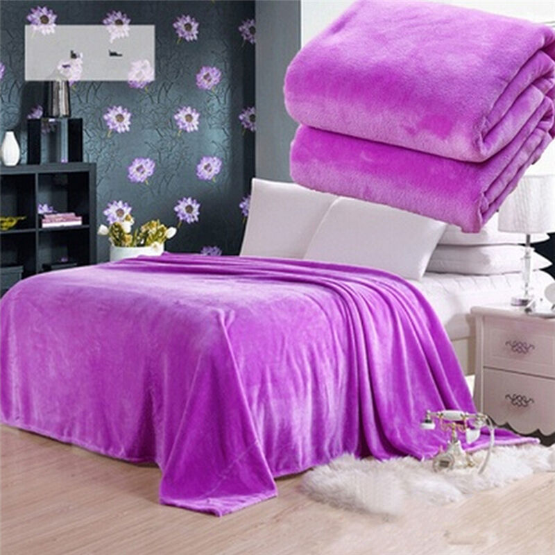 New Soft Warm Solid Warm Micro Plush Fleece Blanket Throw