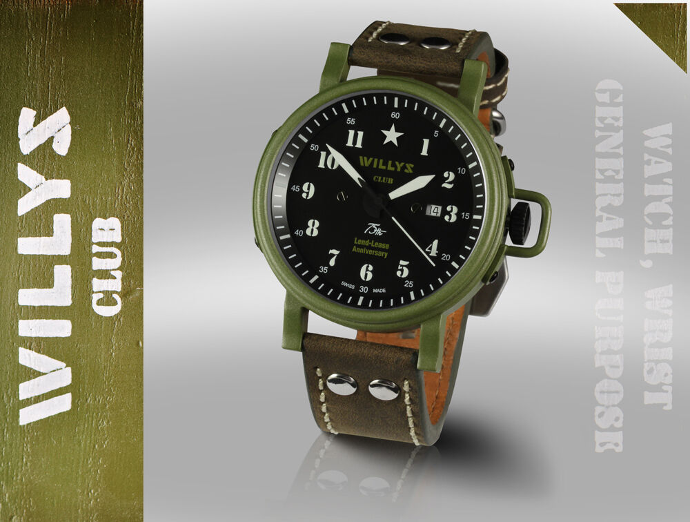 Military Jeep Parts >> Jeep Willys Club automatic watches Switzerland limited edition US series America   eBay