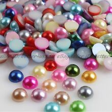 Half Pearl Round Bead Flat Back Scrapbook for Craft FlatBack 2/3/4/5/6/7/8MM DIY