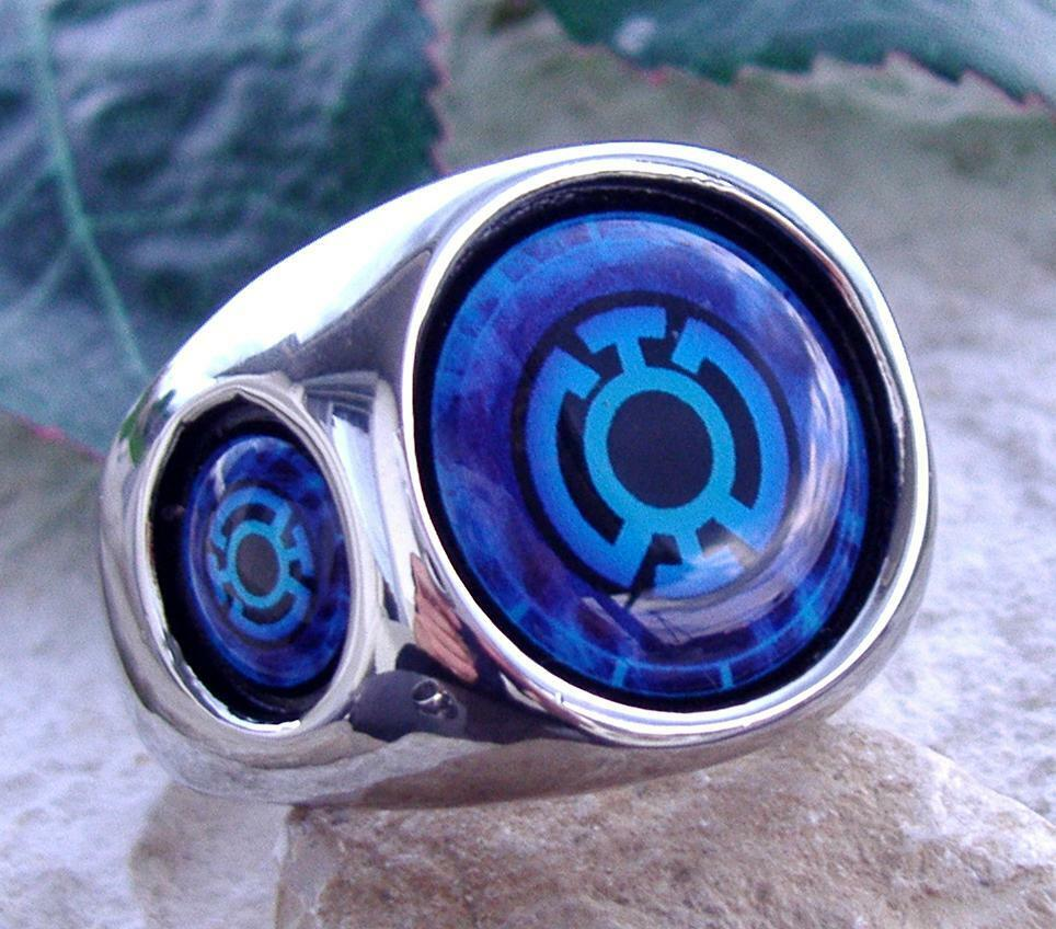 Blue lantern ring steel red green silver dc corps comics