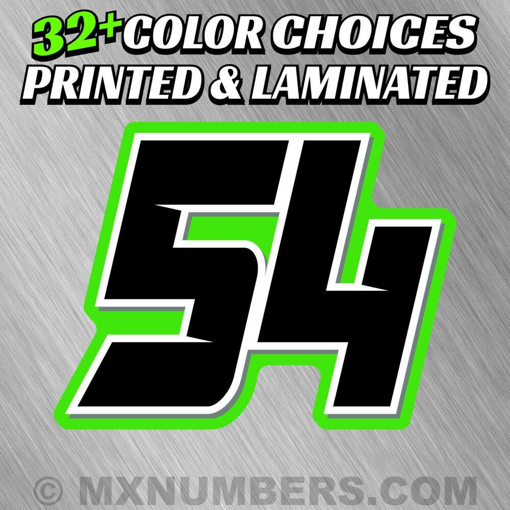4 Color Mx Number Plate Decals Sticker Graphics Motorcycle
