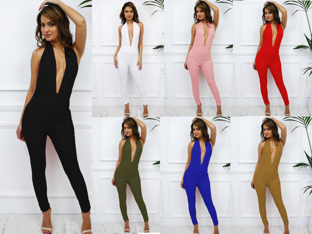 3beb30c497 Glamzam New Womens Ladies Party Halterneck Plunge Low V Backless Skinny  Jumpsuit