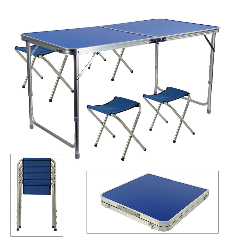 Portable Folding Table With 4 Chairs Kit For Camping Party