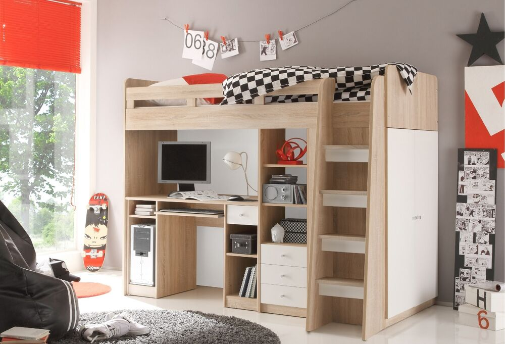 hochbett unit jugendbett kinderbett etagenbett stockbett. Black Bedroom Furniture Sets. Home Design Ideas