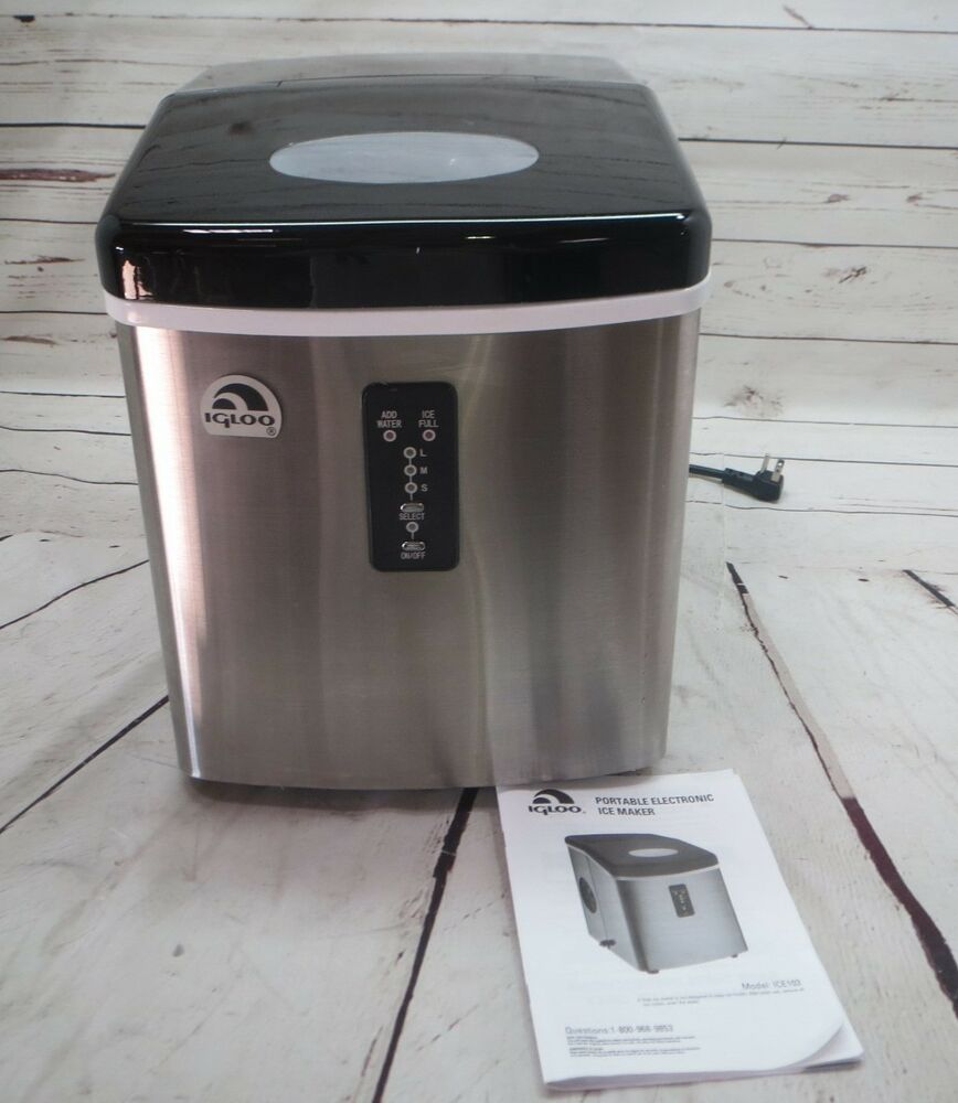 Igloo Counter Top Ice Maker w Over-Sized Ice Bucket, Stainless Steel ...