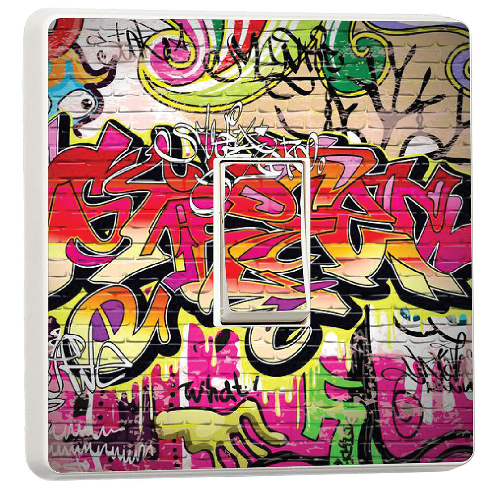 Details about super cool graffiti brick light switch cover kids bedroom 15654649 graffiti