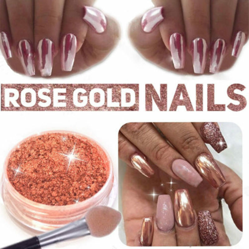 Rose Gold Mirror Mermaid Glitter Chrome Powder Nail Art
