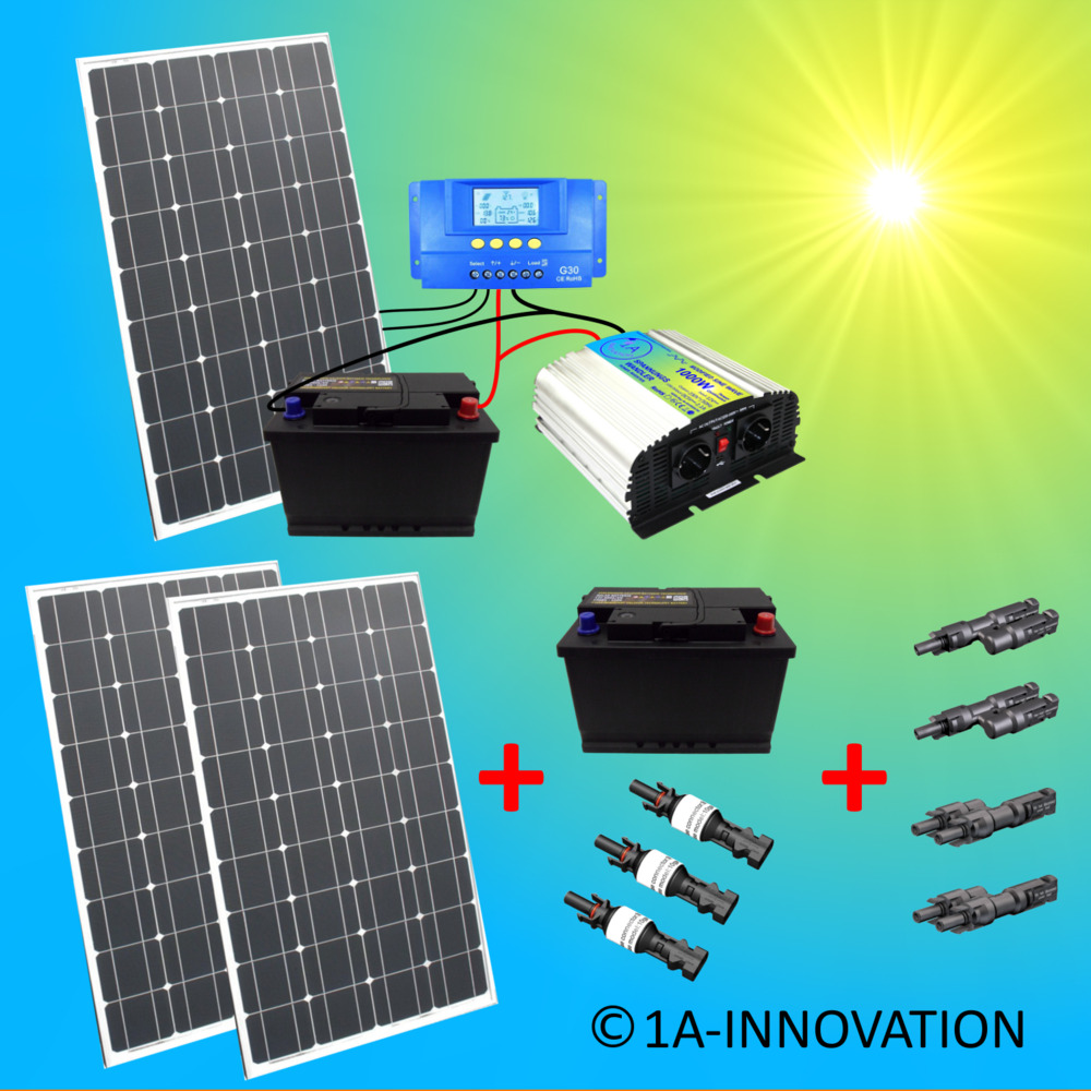 solaranlage komplettpaket 220v akku 2x 100ah 300w solarpanel 1000w camping watt ebay. Black Bedroom Furniture Sets. Home Design Ideas