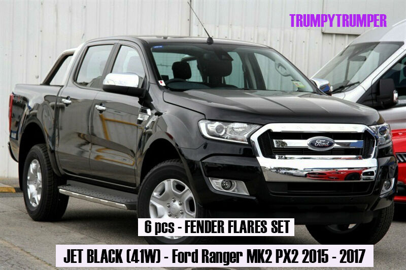 JET BLACK 41W FENDER FLARES SET For Ford Ranger PX2 MK2 WILDTRAK 2016 2017 K