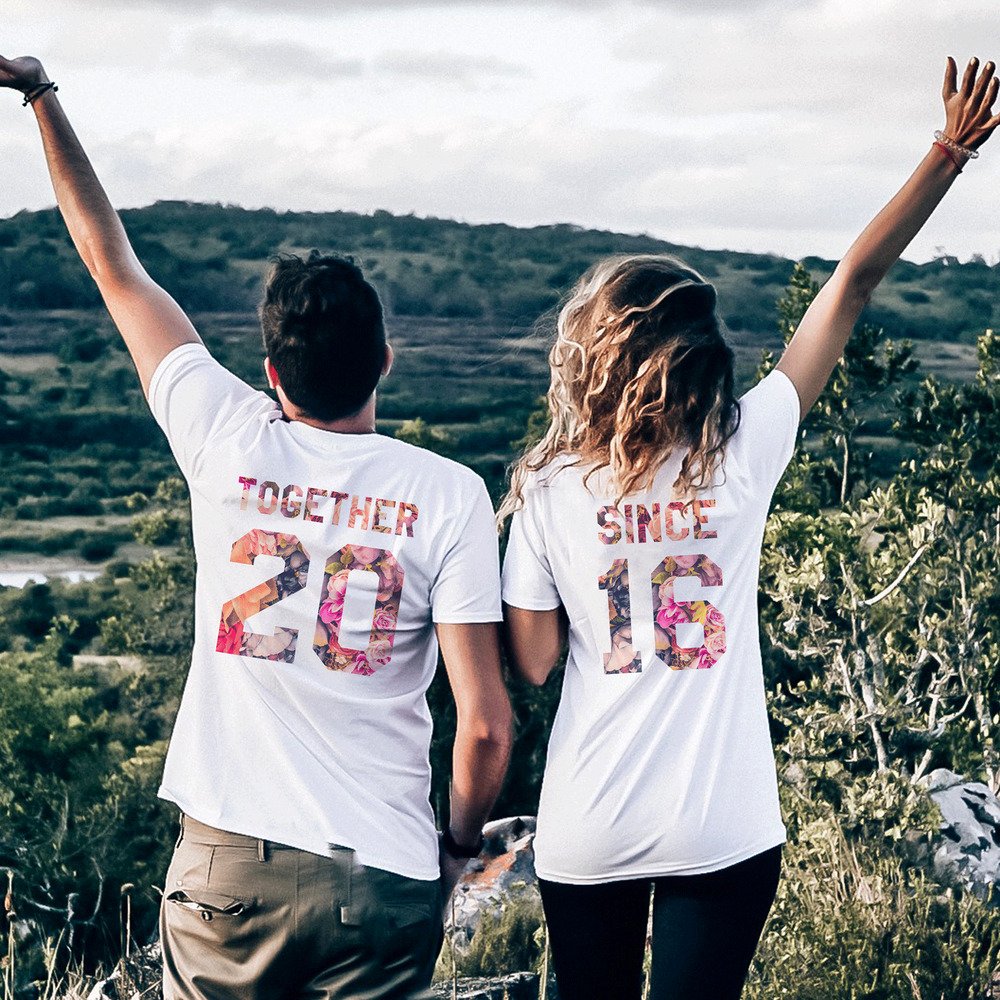 together since tshirts flower print couple matching