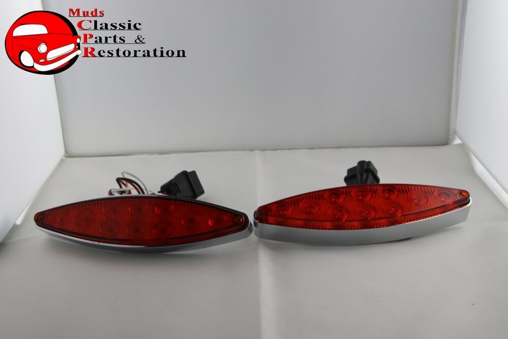 Custom Chrome Red Cat S Eye Tail Lamp Led Lights Hot Rat