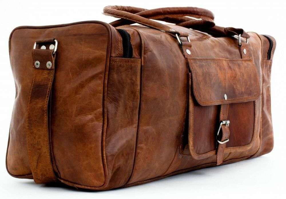 24 men brown vintage handcrafted genuine leather travel luggage duffle gym bags ebay for Leather luggage wheeled duffel
