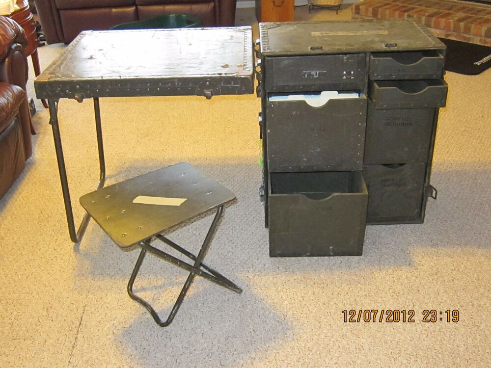 NEW US Military M1952 Wooden Field Desk Army Navy USMC ...