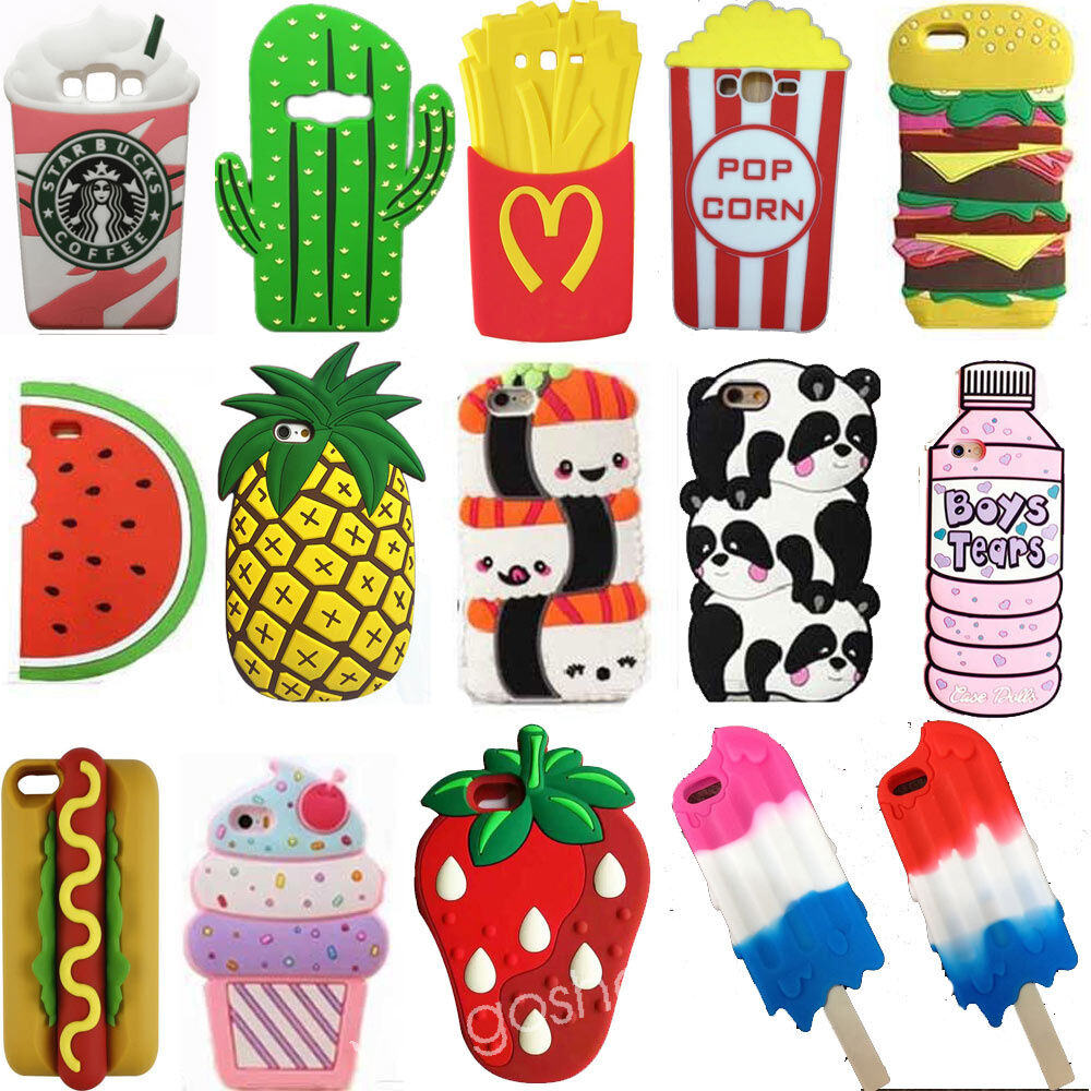 3d cartoon hot cute kawaii food silicone phone case cover for 3d decoration for phone cases