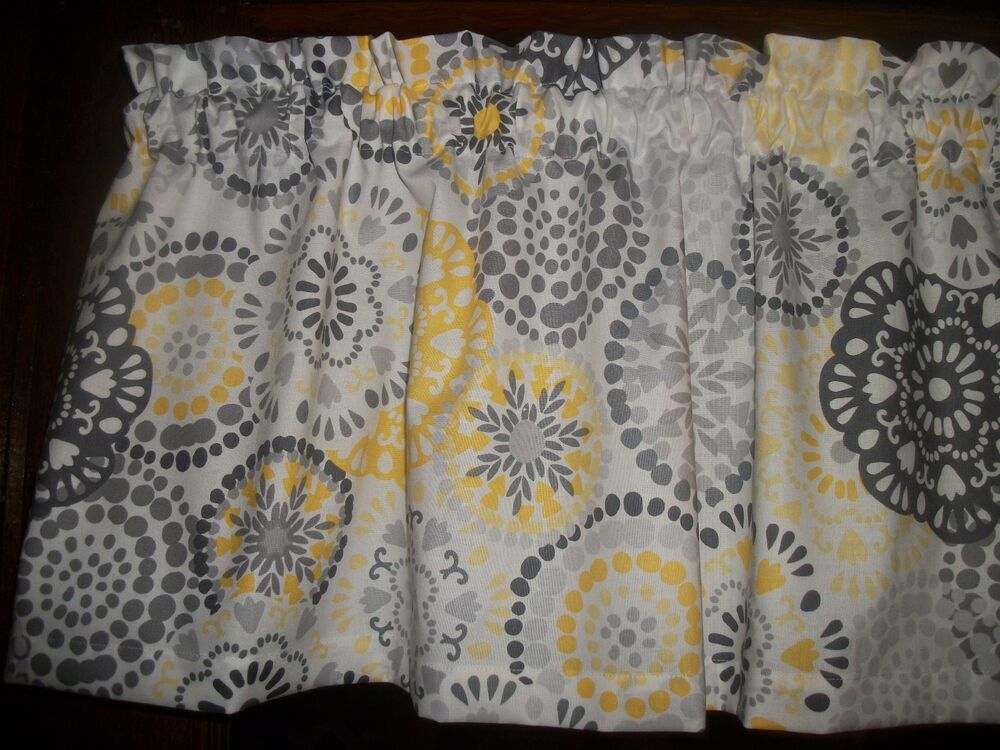 Gray Yellow Circle Polka Dot Retro Waverly Fabric Kitchen