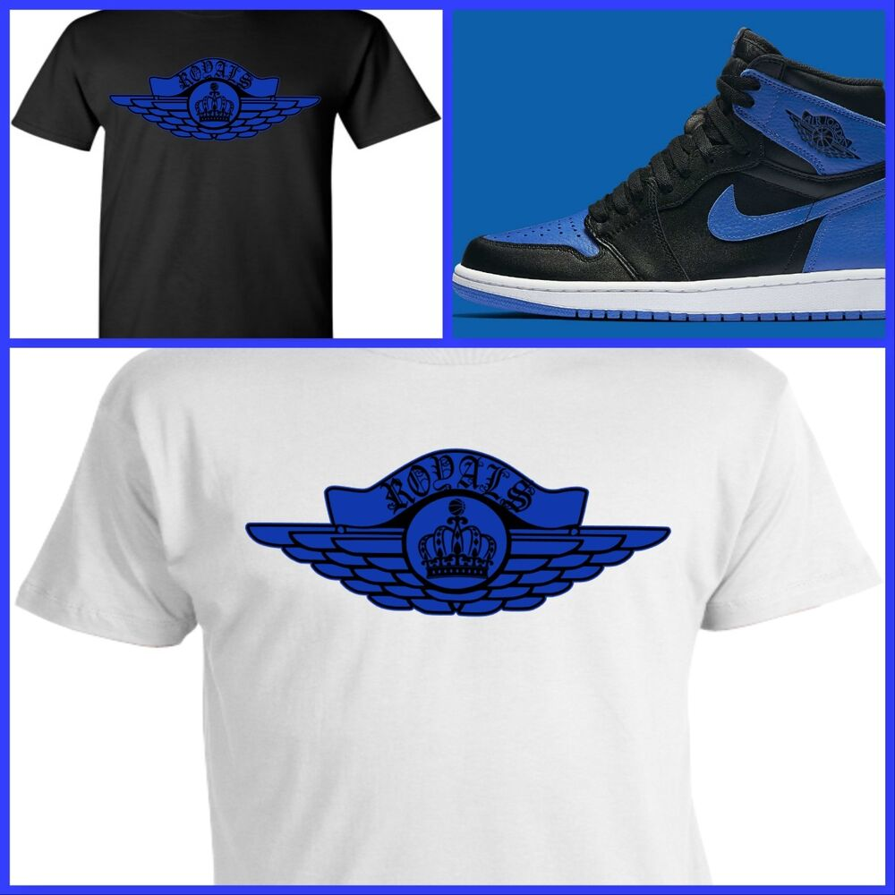 Exclusive tee t shirt 2 to match air jordan 1 or 31 royal for Jordan royal 1 shirt