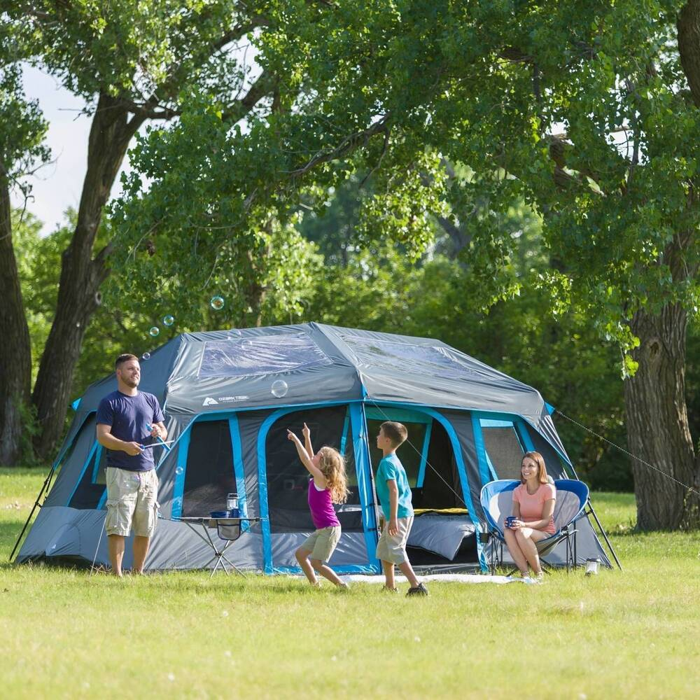 Ozark trail 10 person dark rest instant cabin tent ebay for Tent cottage