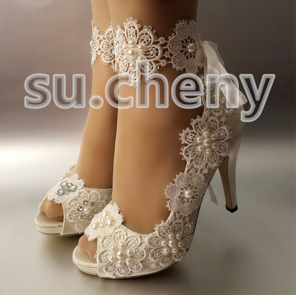 "3 4 Heel White Ivory Satin Lace Ribbon Open Toe Wedding: Su.cheny 3""4""Snowflake Satin White Ivory Lace Open Toe"
