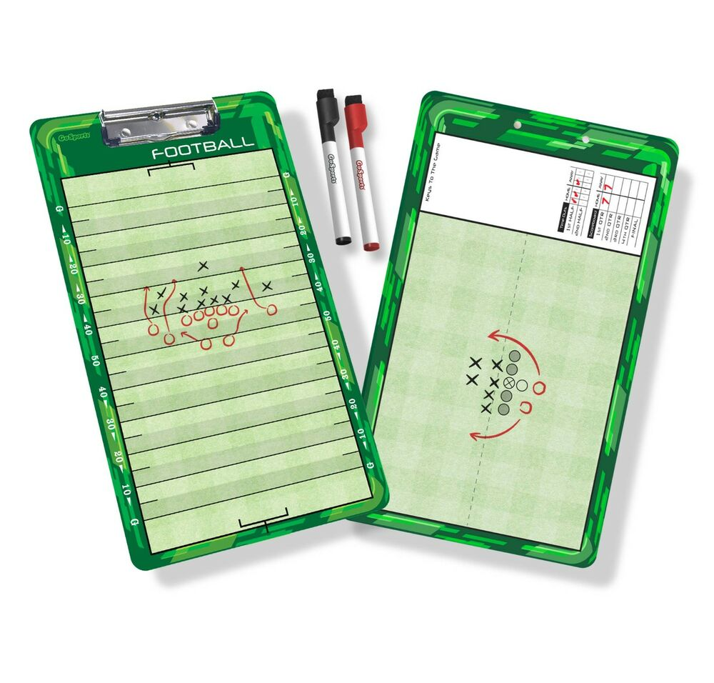 GoSports Two Sided Football Coaches Board with Two Dry