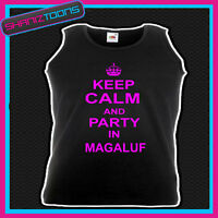 KEEP CALM AND PARTY IN MAGALUF HOLIDAY CLUBBING HEN PARTY UNISEX VEST TOP