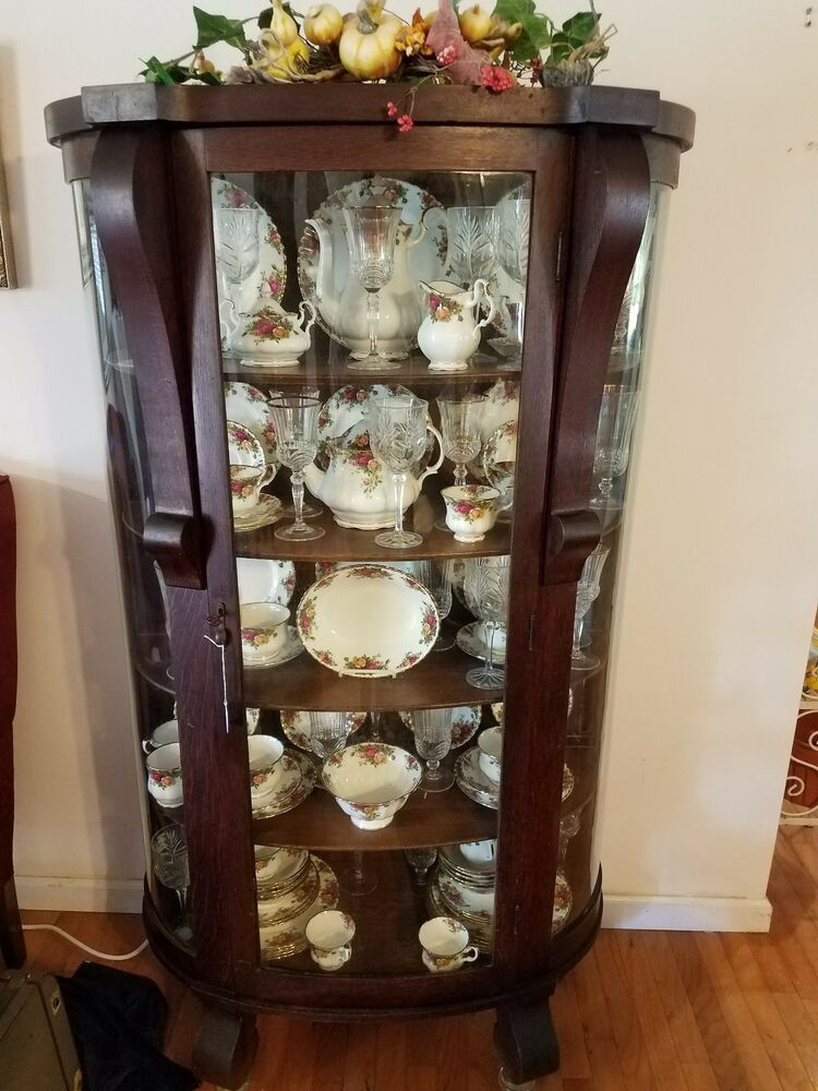 Antique China Hutch >> Antique Curved Glass Front China Cabinet with Full China ...