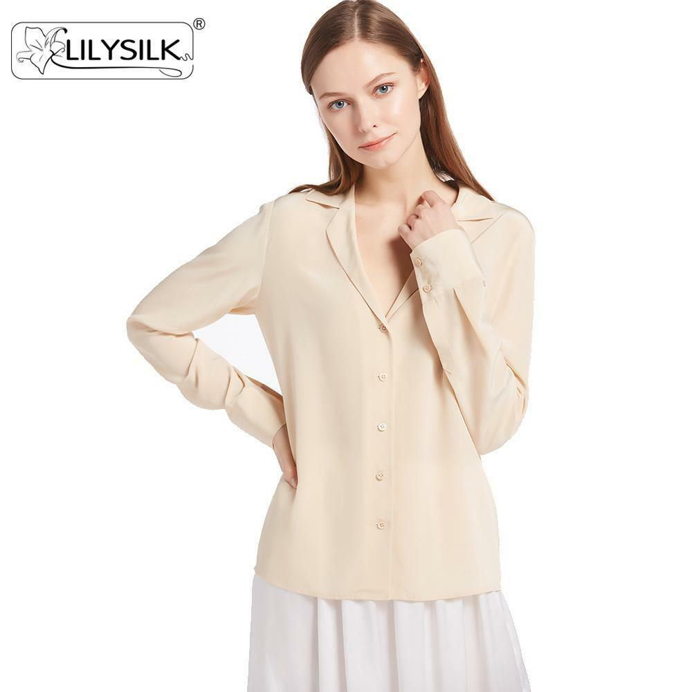 cdcbe28ac99dd9 Details about New LILYSILK V-neck Button Front 18 Momme Silk Shirts Long  Sleeve Size XL M L S