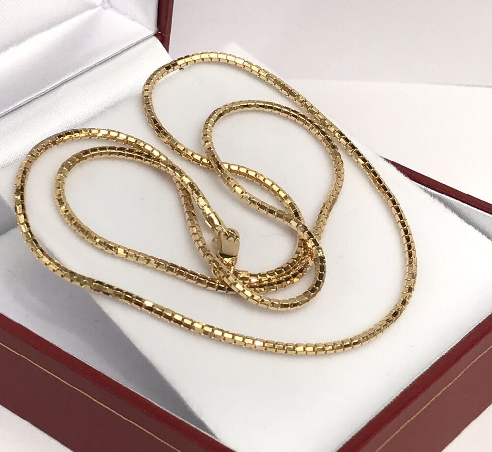 18k solid yellow gold italy snake chain necklace dimond. Black Bedroom Furniture Sets. Home Design Ideas