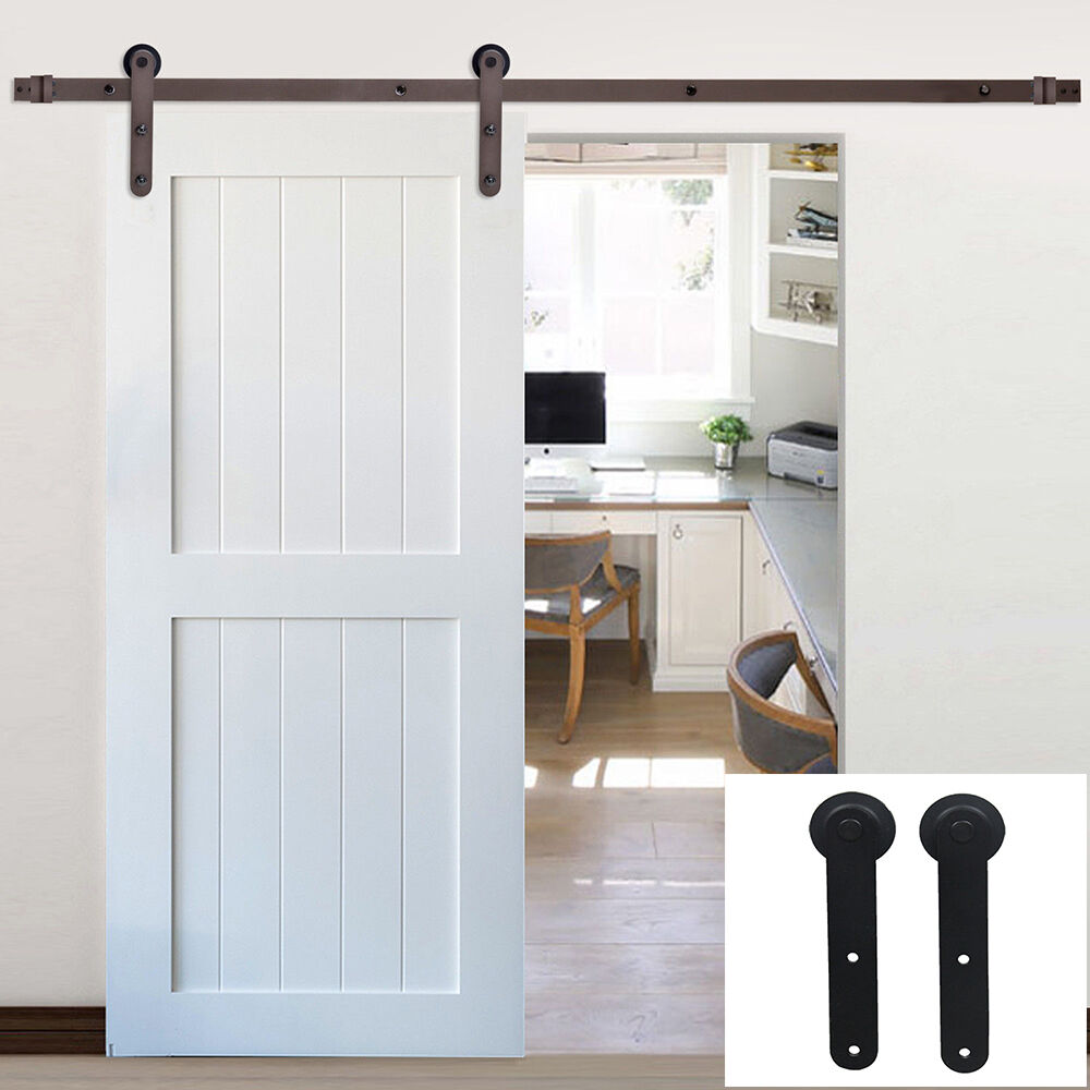 6 16ft rustic single sliding barn door hardware track kit for Single sliding barn door