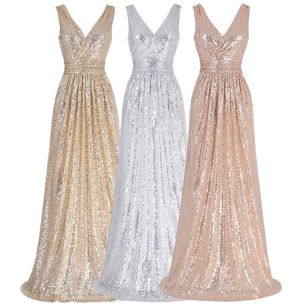 Sequins long formal evening dress prom party bridesmaid for Long maxi dresses for weddings