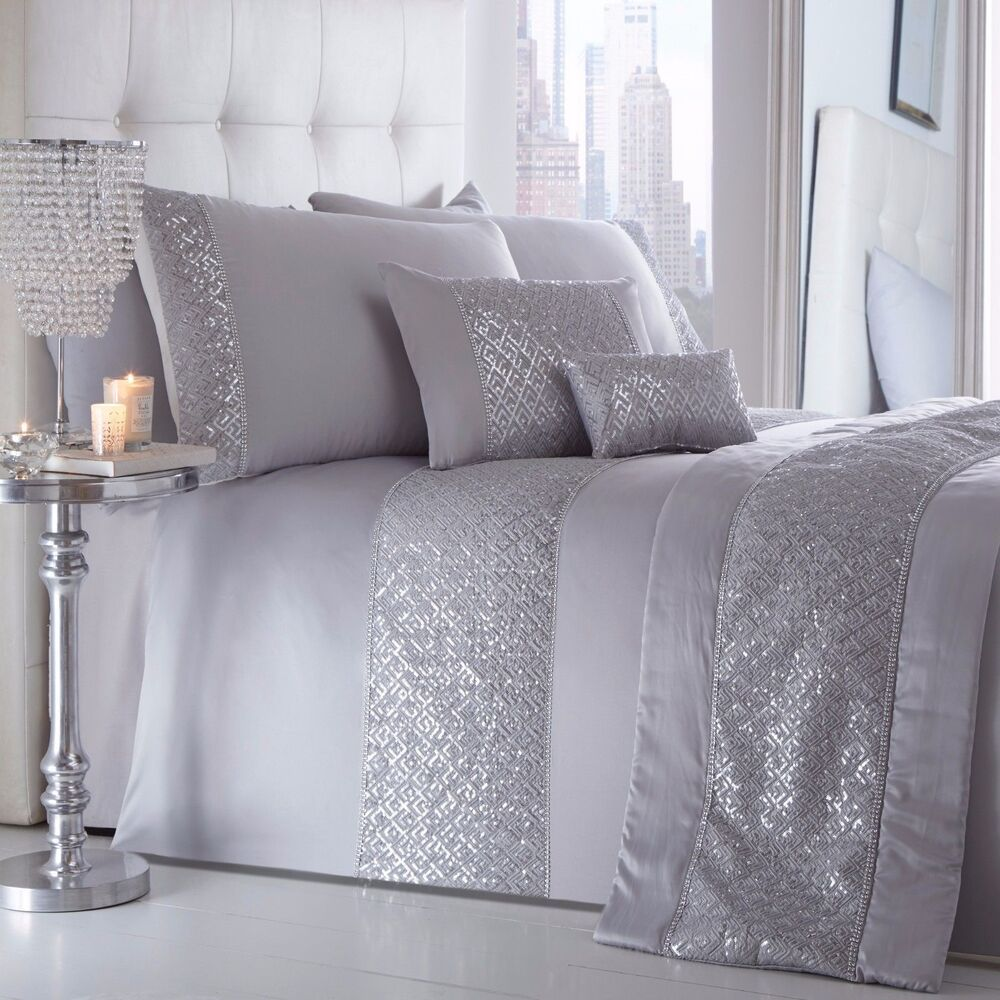 Luxury silver grey diamante sequin bling duvet cover - Bedroom comforter and curtain sets ...