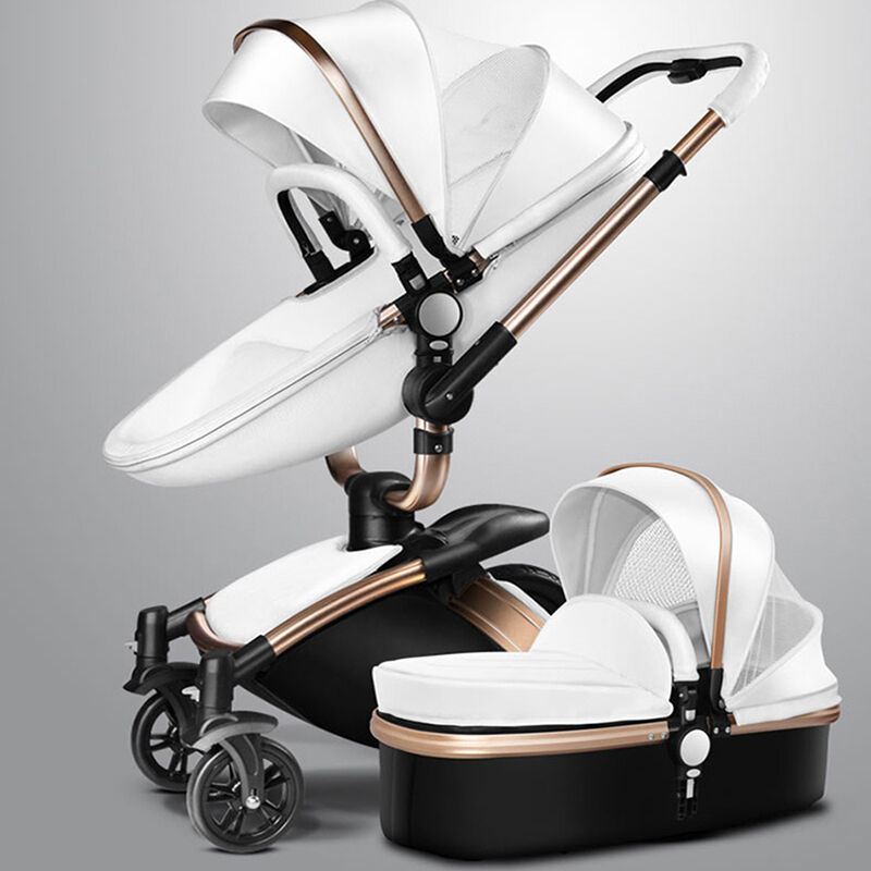 baby stroller 2 in 1 leather carriage infant travel car foldable pram pushchair ebay. Black Bedroom Furniture Sets. Home Design Ideas