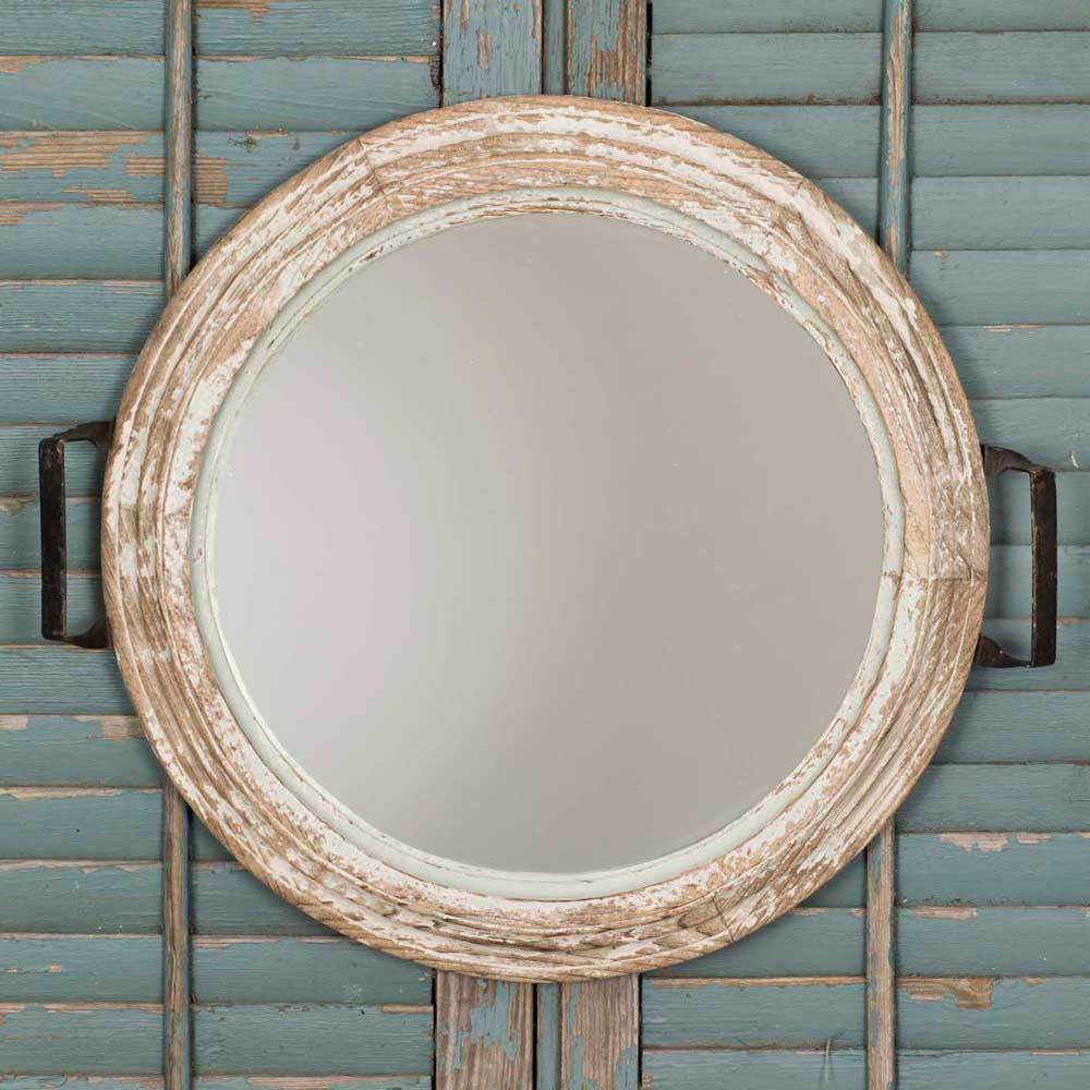 Bathroom bedroom wall mirror distressed look round wood for Looking for wall mirrors