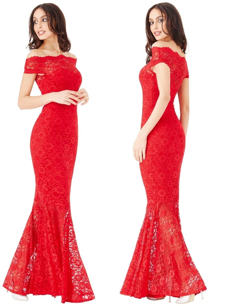 27428fe98b57 Details about Goddiva Red Lace Bardot Maxi Evening Fishtail Mermaid Formal  Party Dress Prom