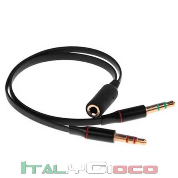 Cavetto sdoppiatore Y-Form audio da presa Jack 3,5mm a 2x spina 3,5mm Cavo Nero