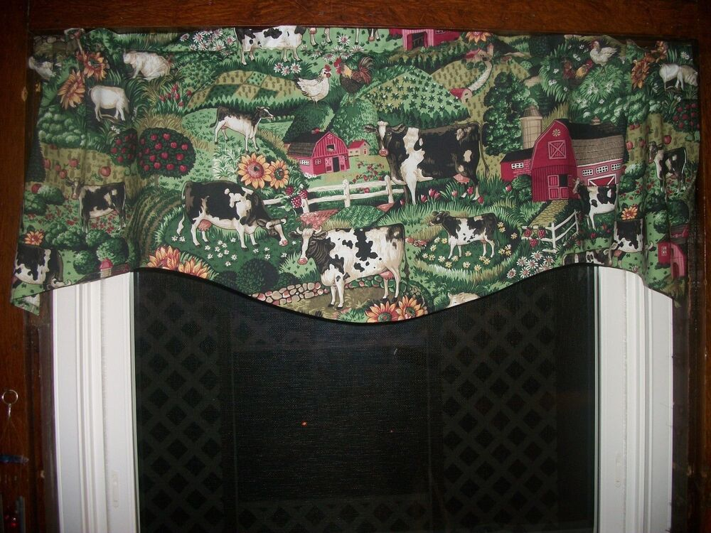 Cow Chicken Rooster Farm Sunflower Apple Country Kitchen Fabric Curtain Valance Ebay