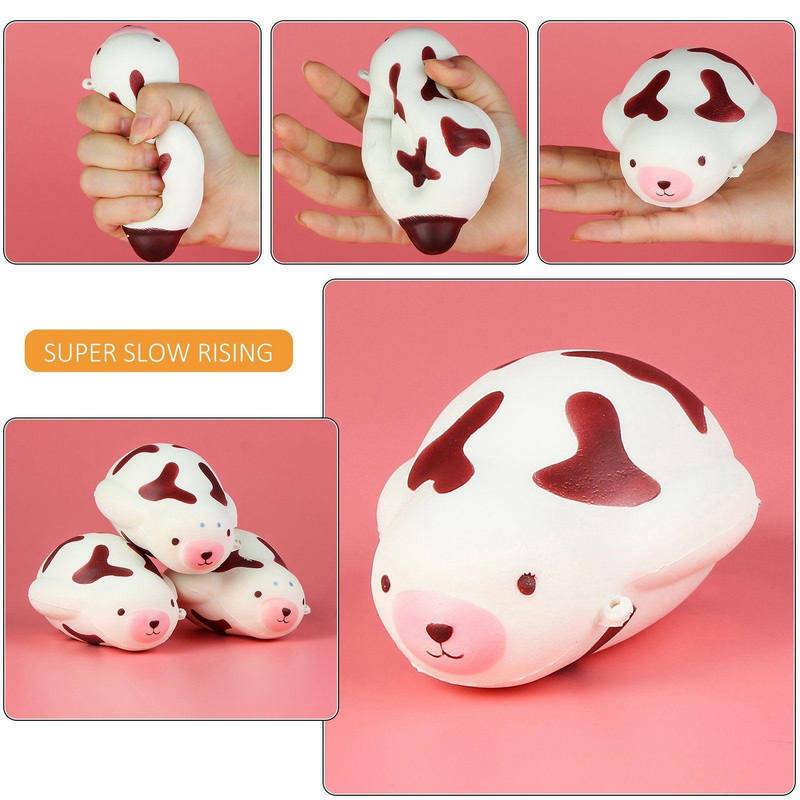 Squishy Toys Europe : Kawaii Squishy Jumbo Mochi Seal Cow Squeeze Stretchy Slow rising Phone Strap Toy eBay