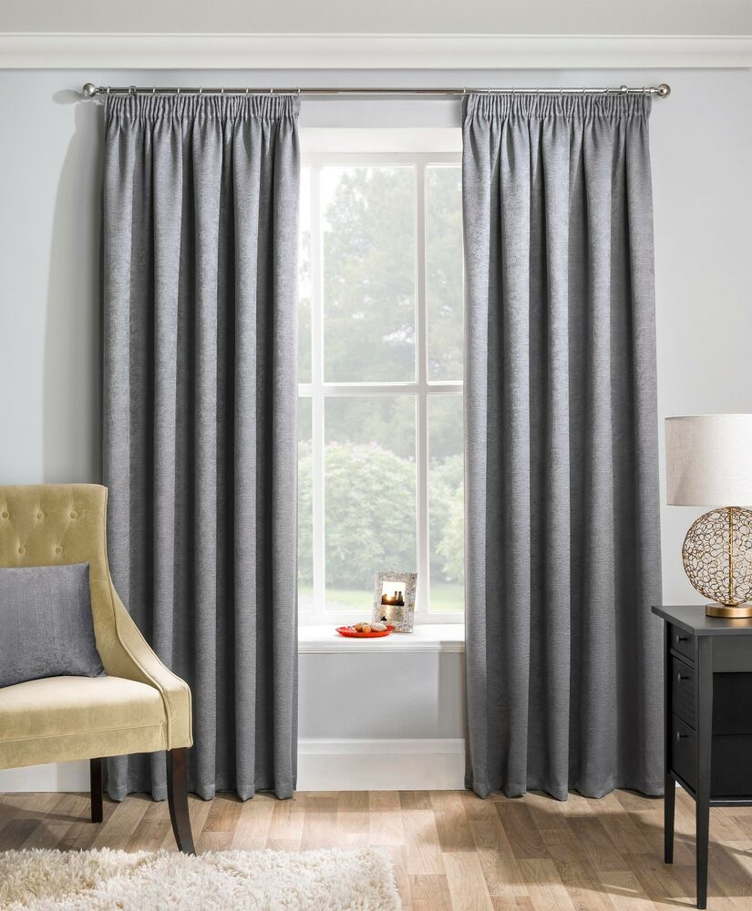 Victorian velvet curtains - Grey Woven Block Out Thermal Pencil Pleat Tape Top Ready Made Curtains