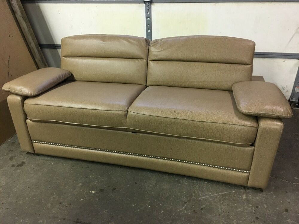 73 Quot Flexsteel Destin Chamois Tan Sofa Couch Ft Pull Out Bed With Air Mattress Ebay