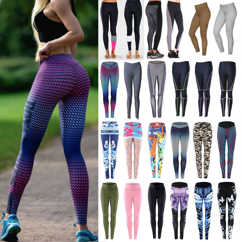 Womens Leggings Yoga Sports Athletic Fitness Stretch: Women's Yoga Gym Stretch Leggings Pants Fitness Jogging