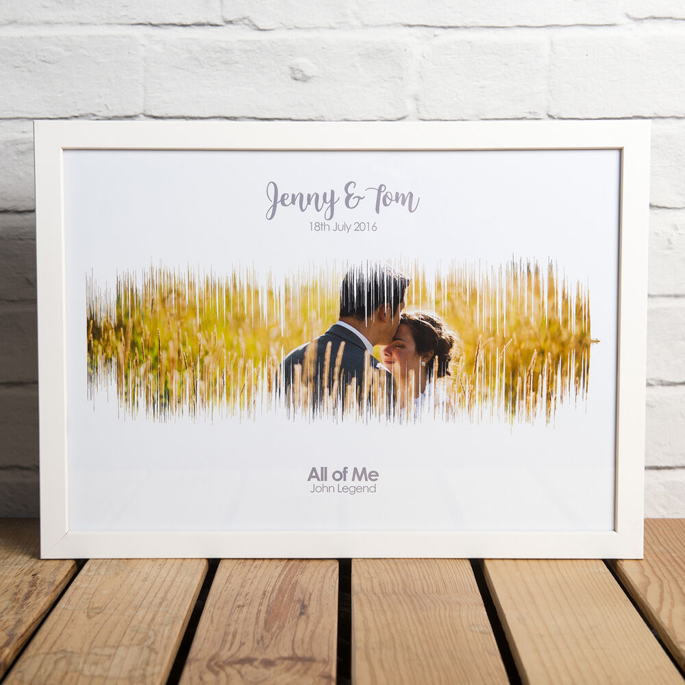 Personalised 1st Wedding Anniversary Gifts: PERSONALISED FIRST DANCE SOUND WAVE PHOTO PRINT