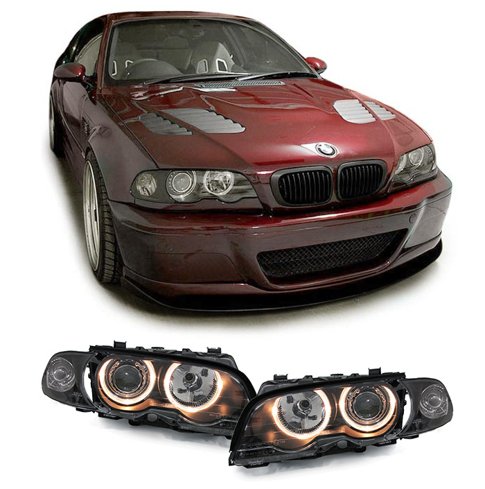 2 feux phare avant angel eyes bmw serie 3 e46 coupe cabriolet 1999 a 03 2003 ebay. Black Bedroom Furniture Sets. Home Design Ideas